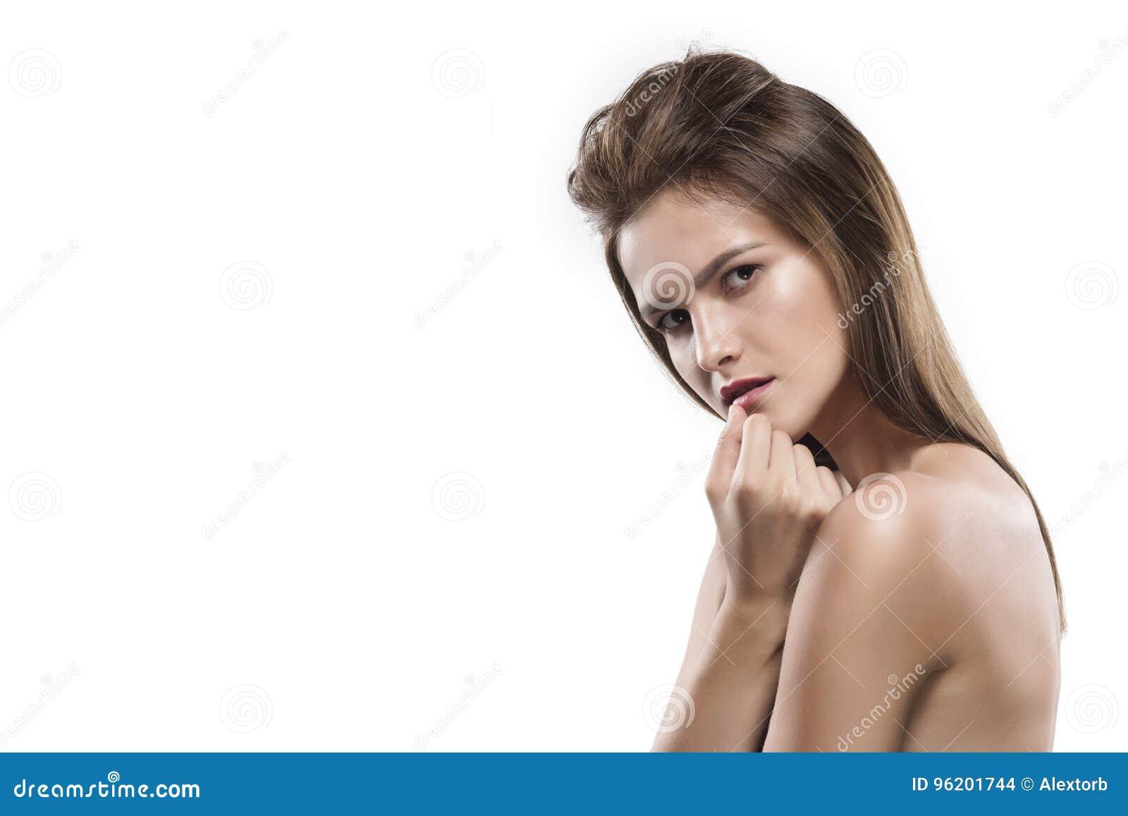 Potrtrait της νέας γυναίκας που απομονώνεται στο λευκό
