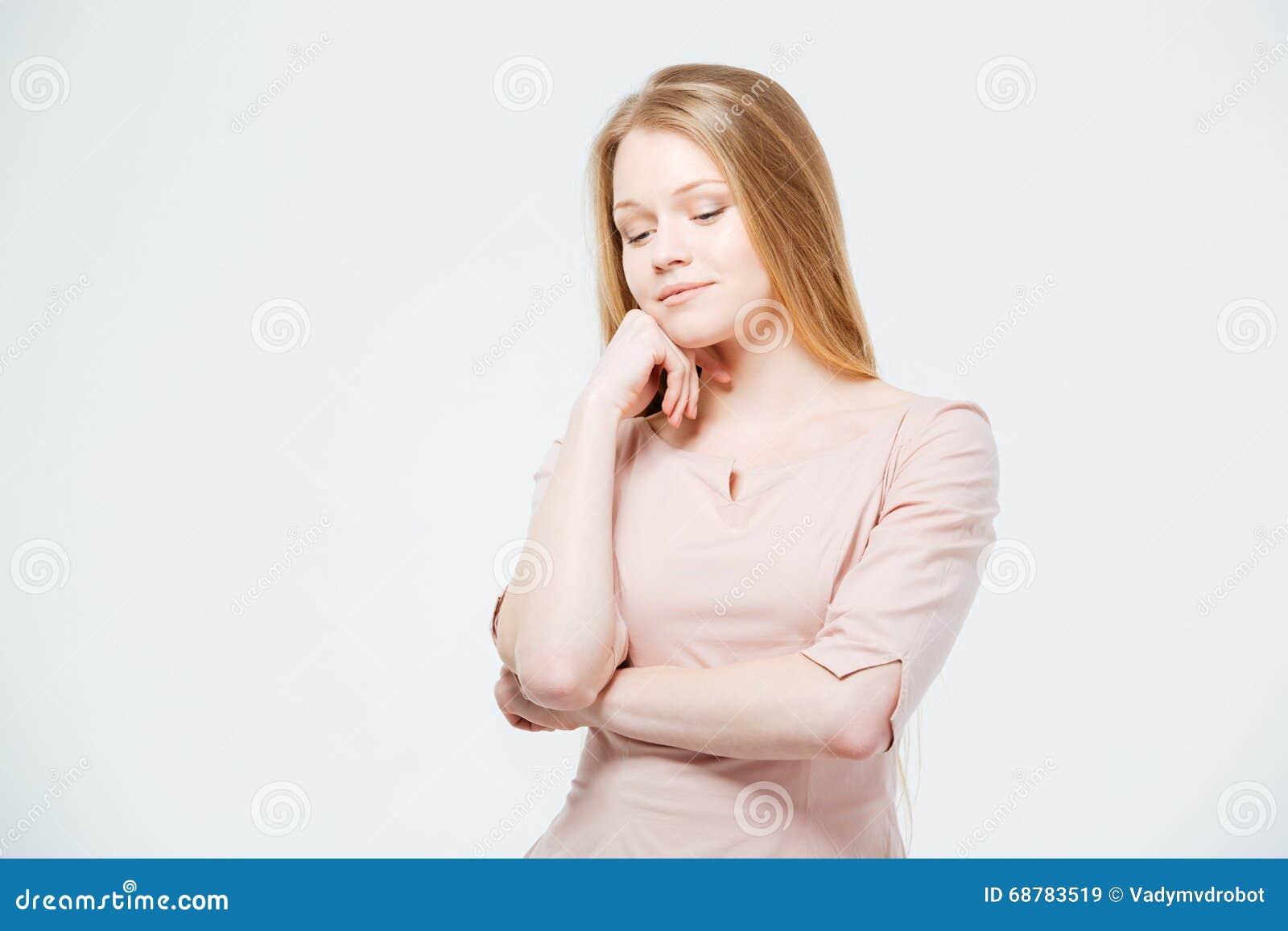 Potrtrait av tänka för ung kvinna