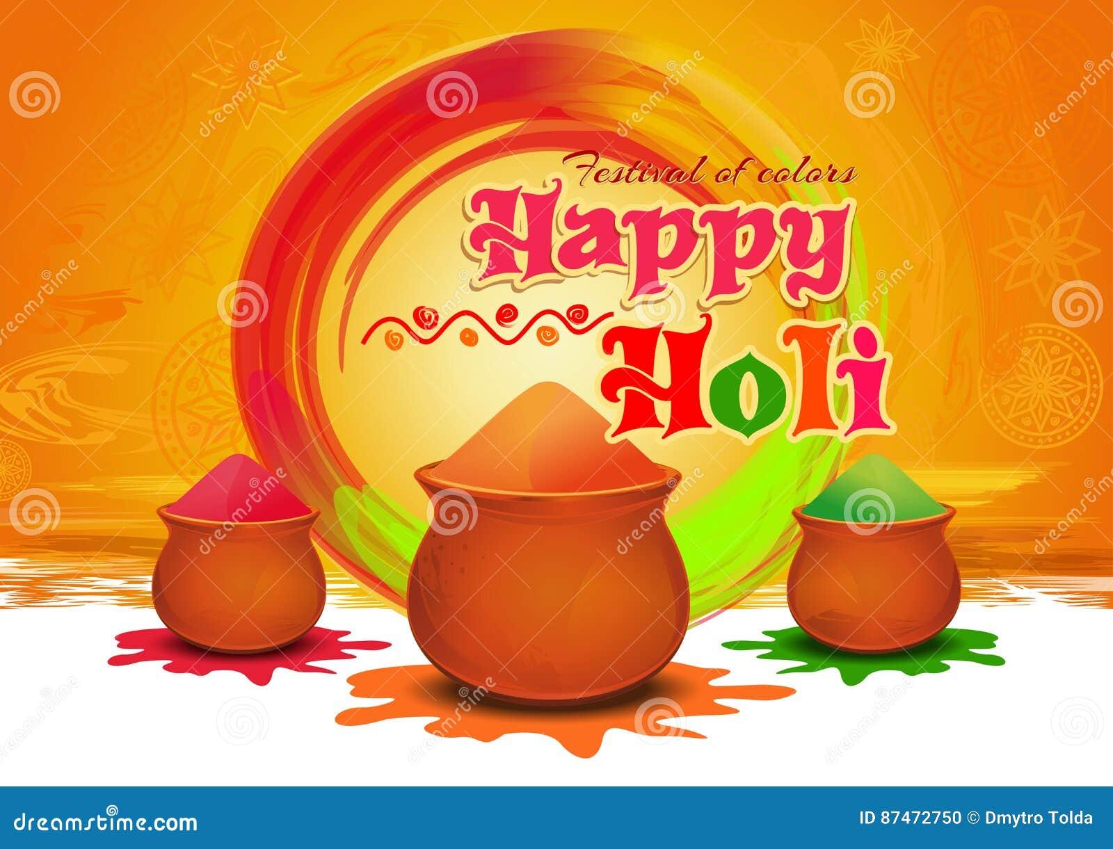 Pots avec gulaal coloré, couleur de poudre pour le festival de couleurs Holi heureux Carte de voeux heureuse de Holi