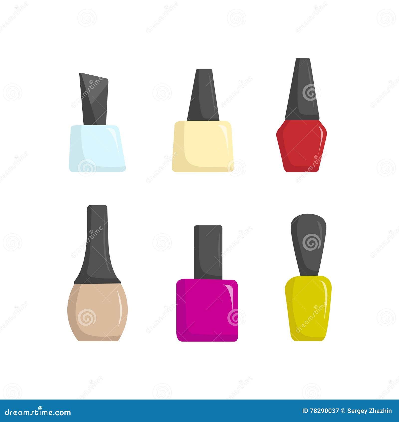Pots colorés de vernis à ongles, illustration de vecteur de bande dessinée de salon de beauté