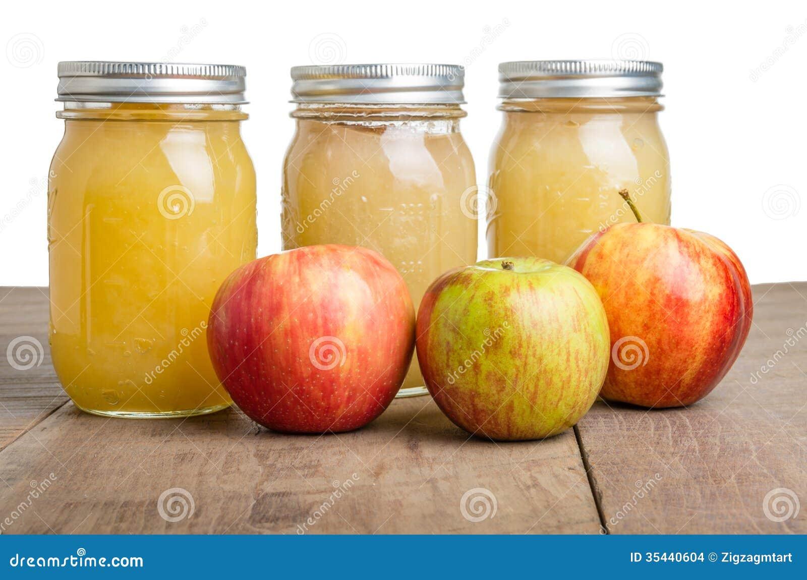 pots de compote de pommes avec des pommes images stock. Black Bedroom Furniture Sets. Home Design Ideas
