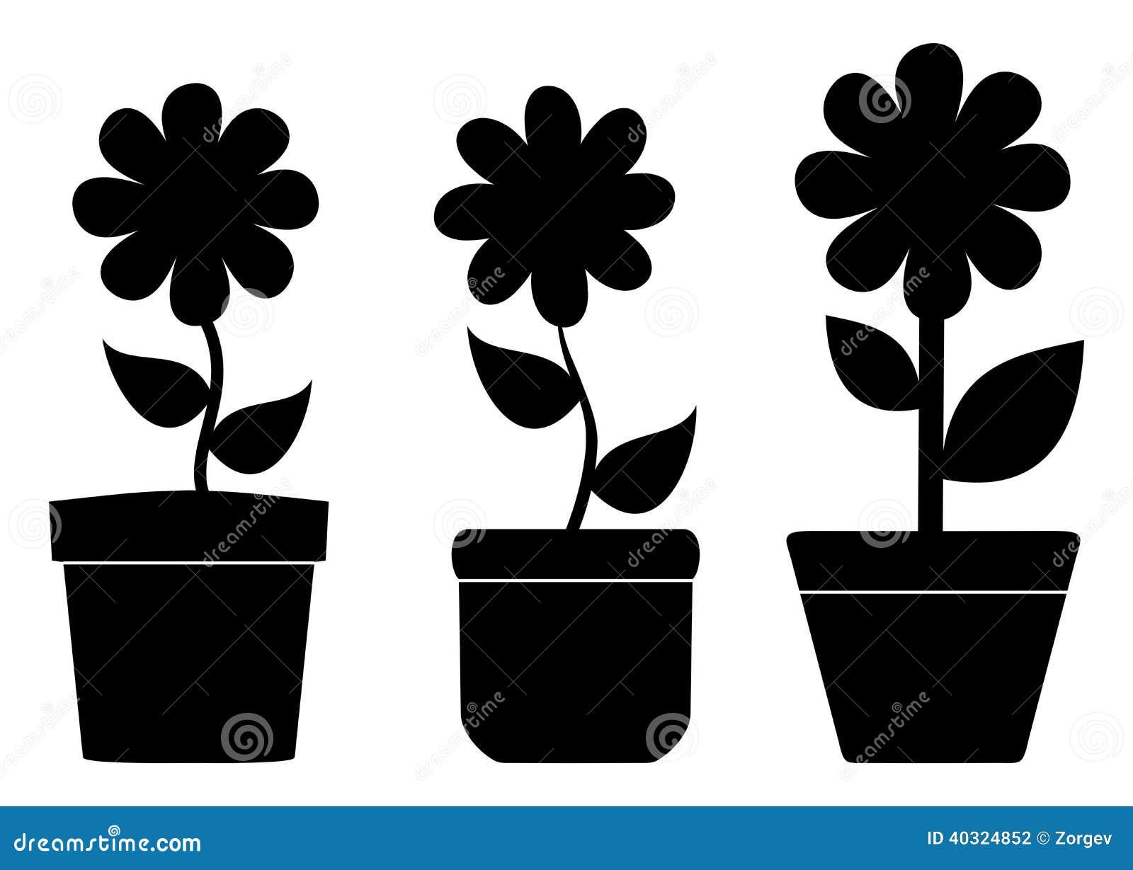 pots de fleur avec l 39 ombre photo stock image du d coration 40324852. Black Bedroom Furniture Sets. Home Design Ideas