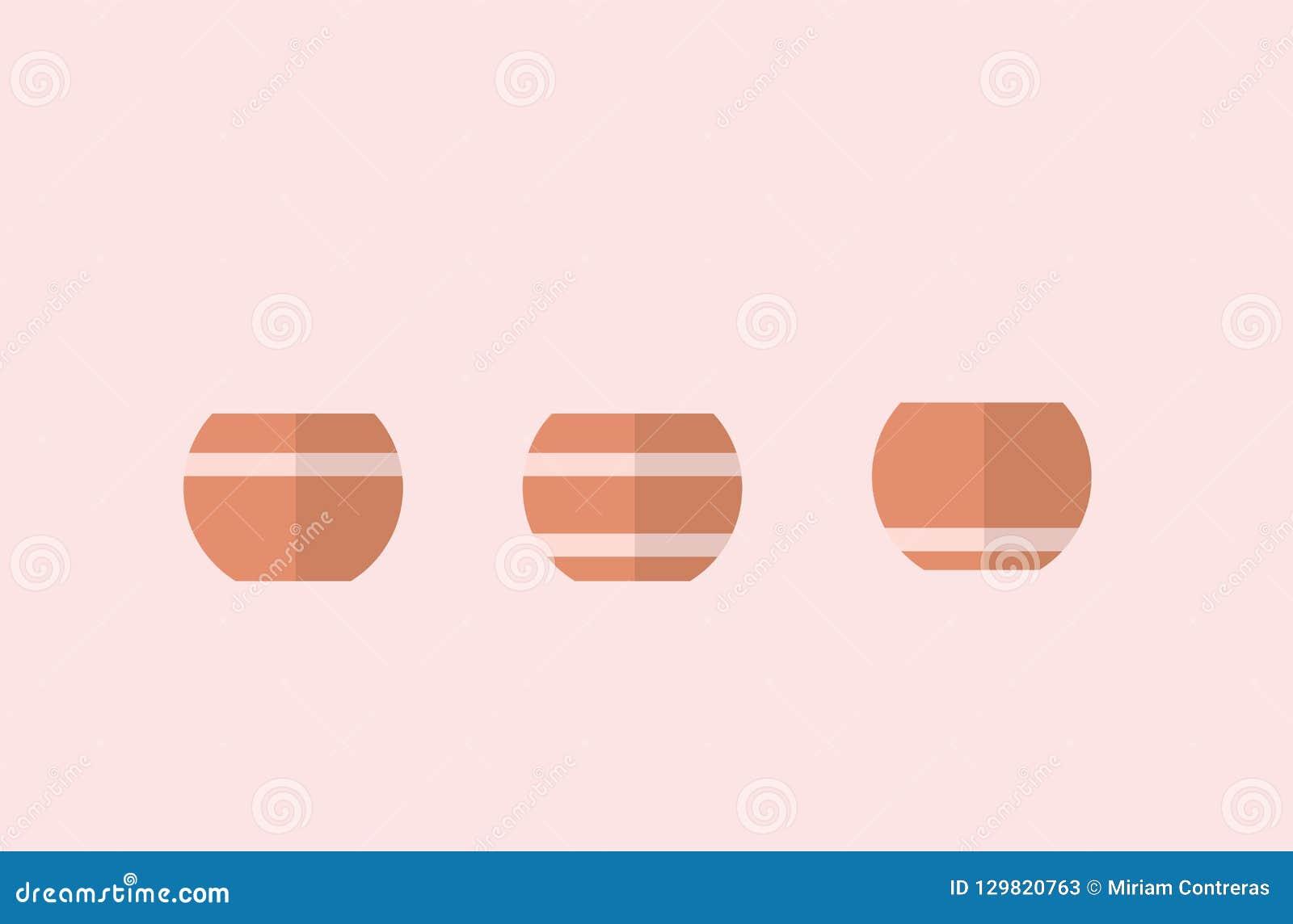 Pots de fleurs avec des lignes 3 vecteurs différents, conceptions simples