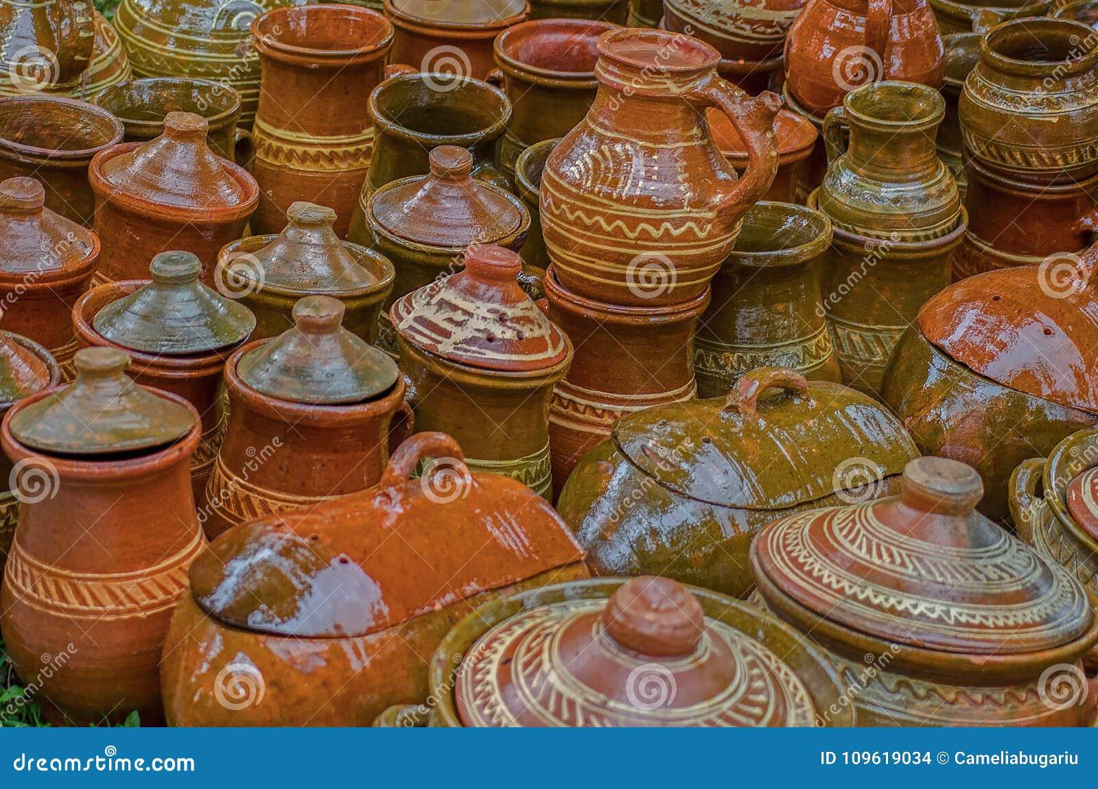 Pots en céramique, traditionnels région de Sibiu, la Transylvanie