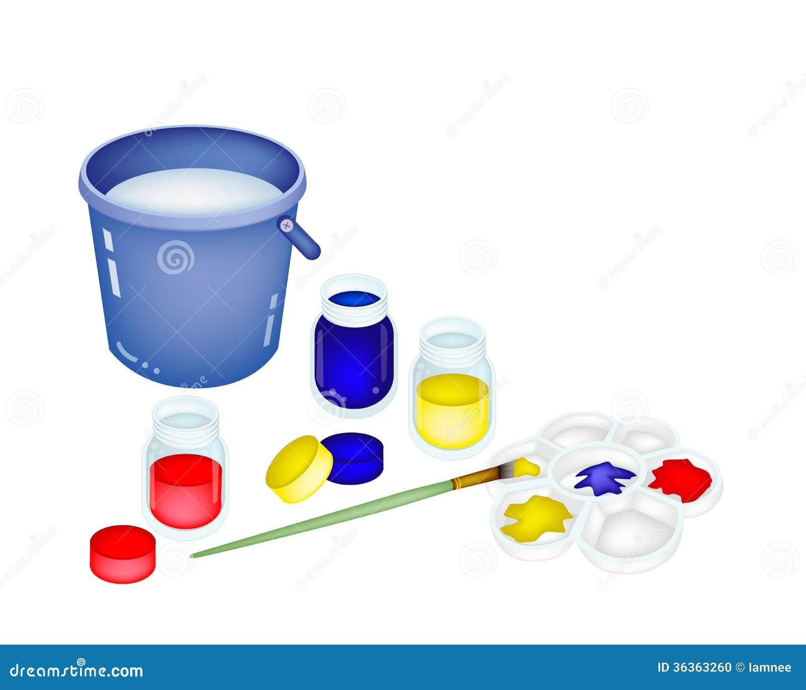 Pots et palette de peinture de couleur avec un seau photo stock image du couleur palette - Pot de peinture prix ...