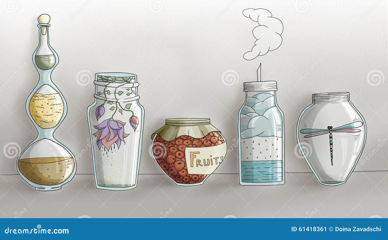 Pots magiques étranges de cuisine - tiré par la main numérique