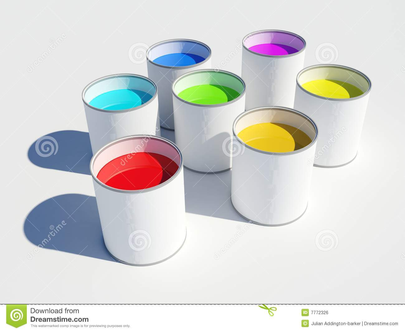 Pots Of Paint Colours Of A Rainbow Royalty Free Stock