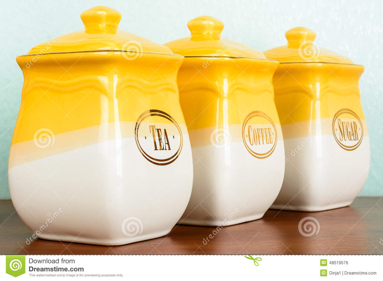 Pots Of Tea Coffee And Sugar Yellow White Color On A White