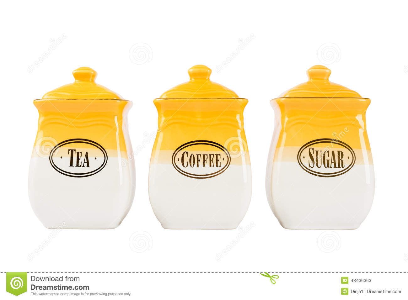 Pots Of Tea Coffee And Sugar Yellow White Color On A