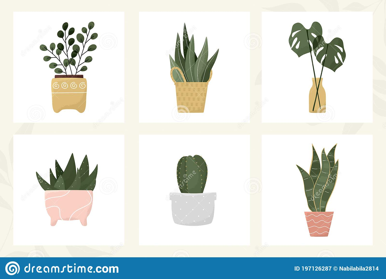 Potted Indoor Tropical Leaves Cactus Aloe Succulent Flower Vase Modern House Plant Decor Printable Wall Art Collection Hand Stock Vector Illustration Of Home Growth 197126287