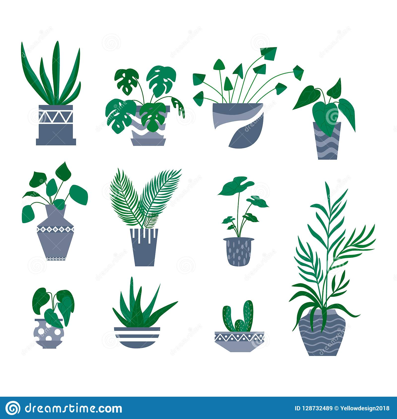 Potted Plants Decorative Collection Flat Colorful Vector Illustration