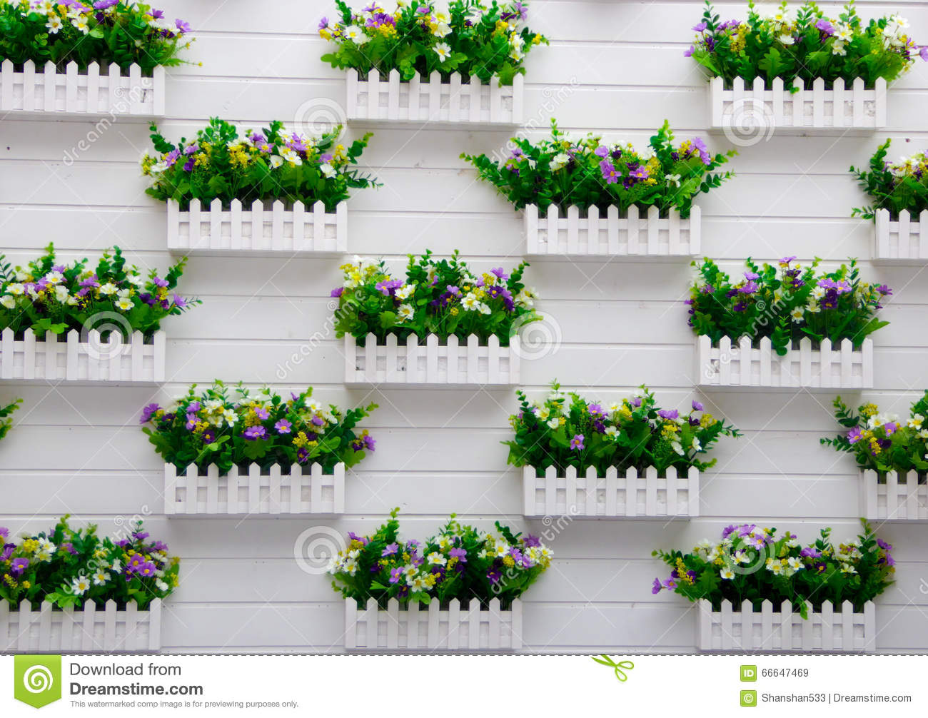 Potted Plants Hanging On The Wall Stock Image Image Of