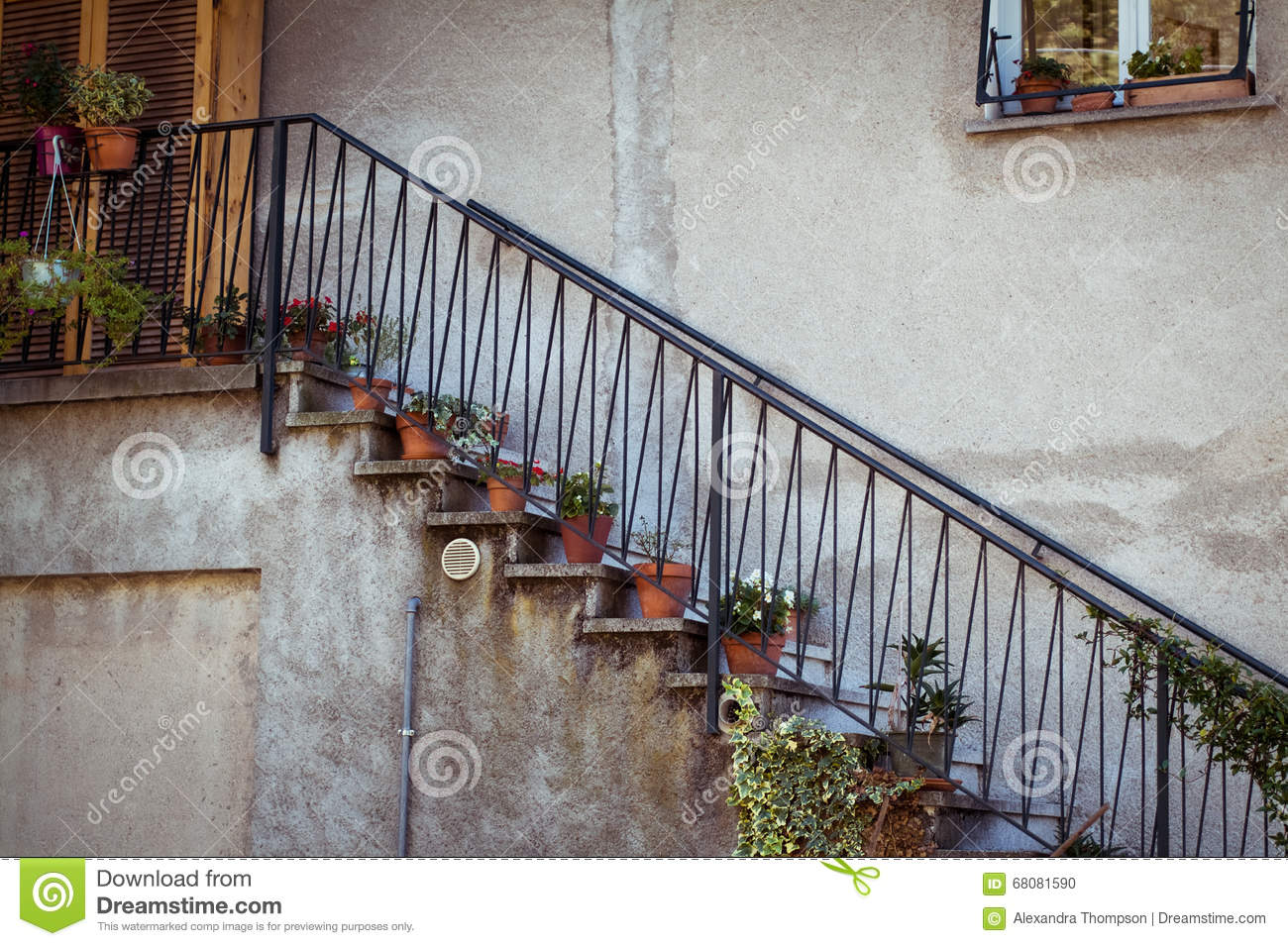 Potted Plants On The Stairs Stock Photo Image Of Porch Lifestyle