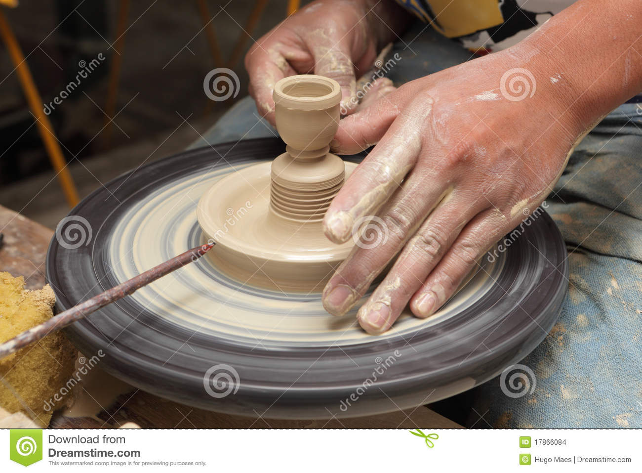Potters Hands Shaping Candlestick Stock Images Image