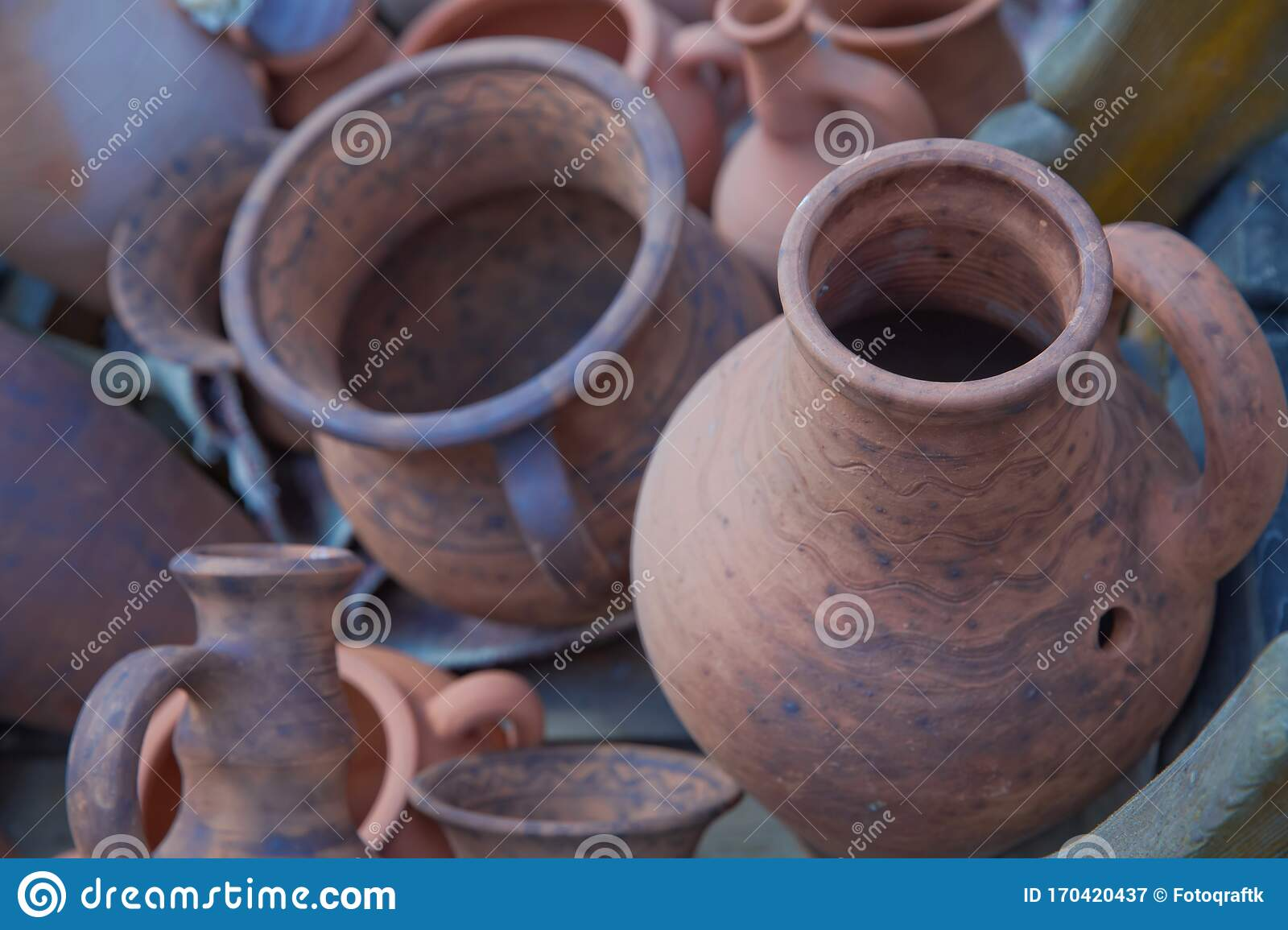 Pottery Craft Ceramic. Clay Dishes .Old Ceramic Tableware Is