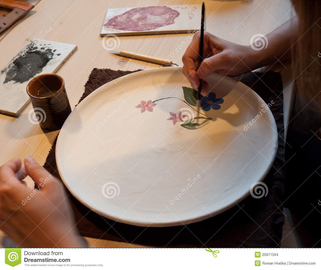 Pottery Painting Stock Photo Image Of Hand Closeup