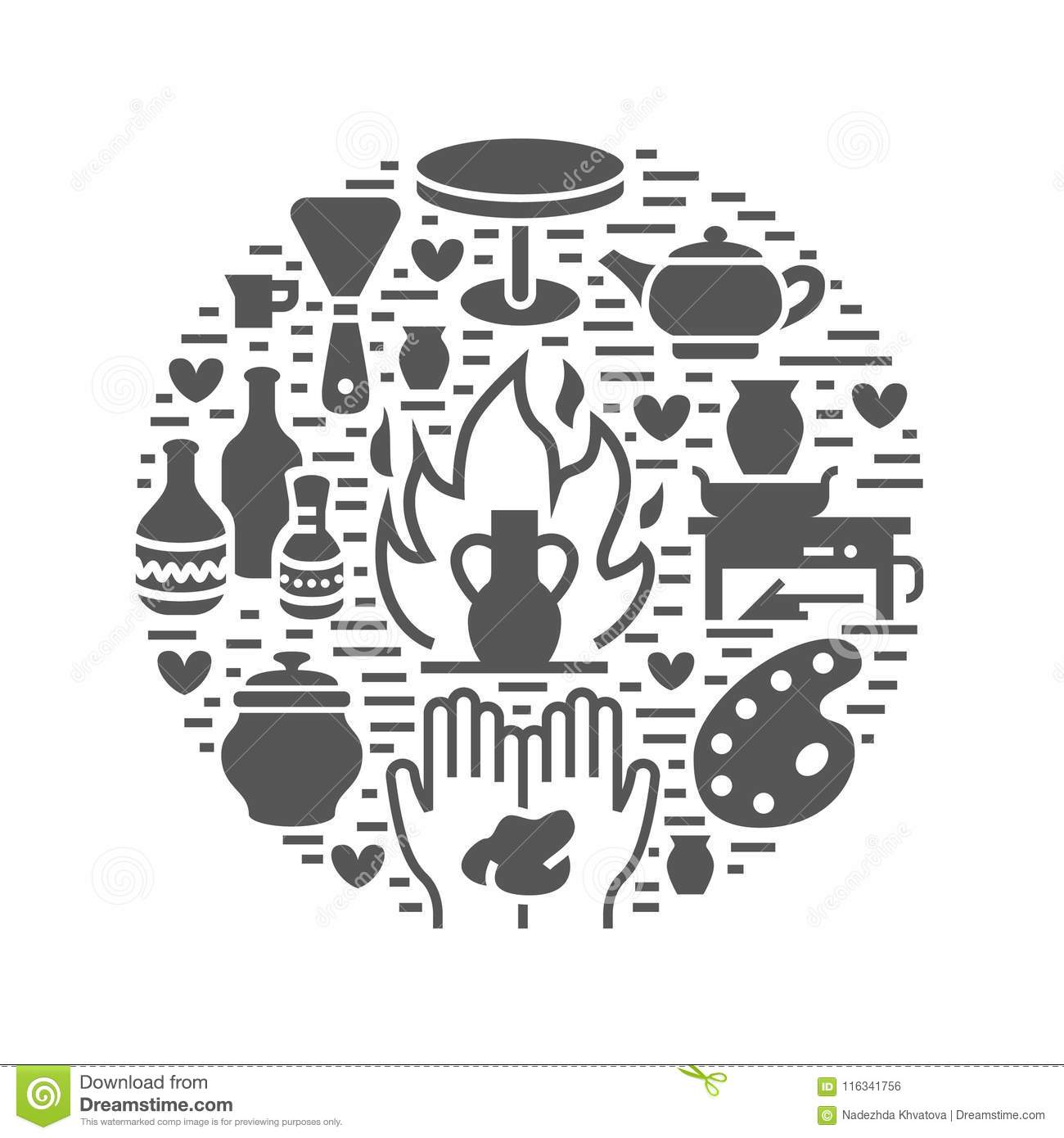 Pottery workshop, ceramics classes banner illustration. Vector glyph icon of clay studio tools. Hand building