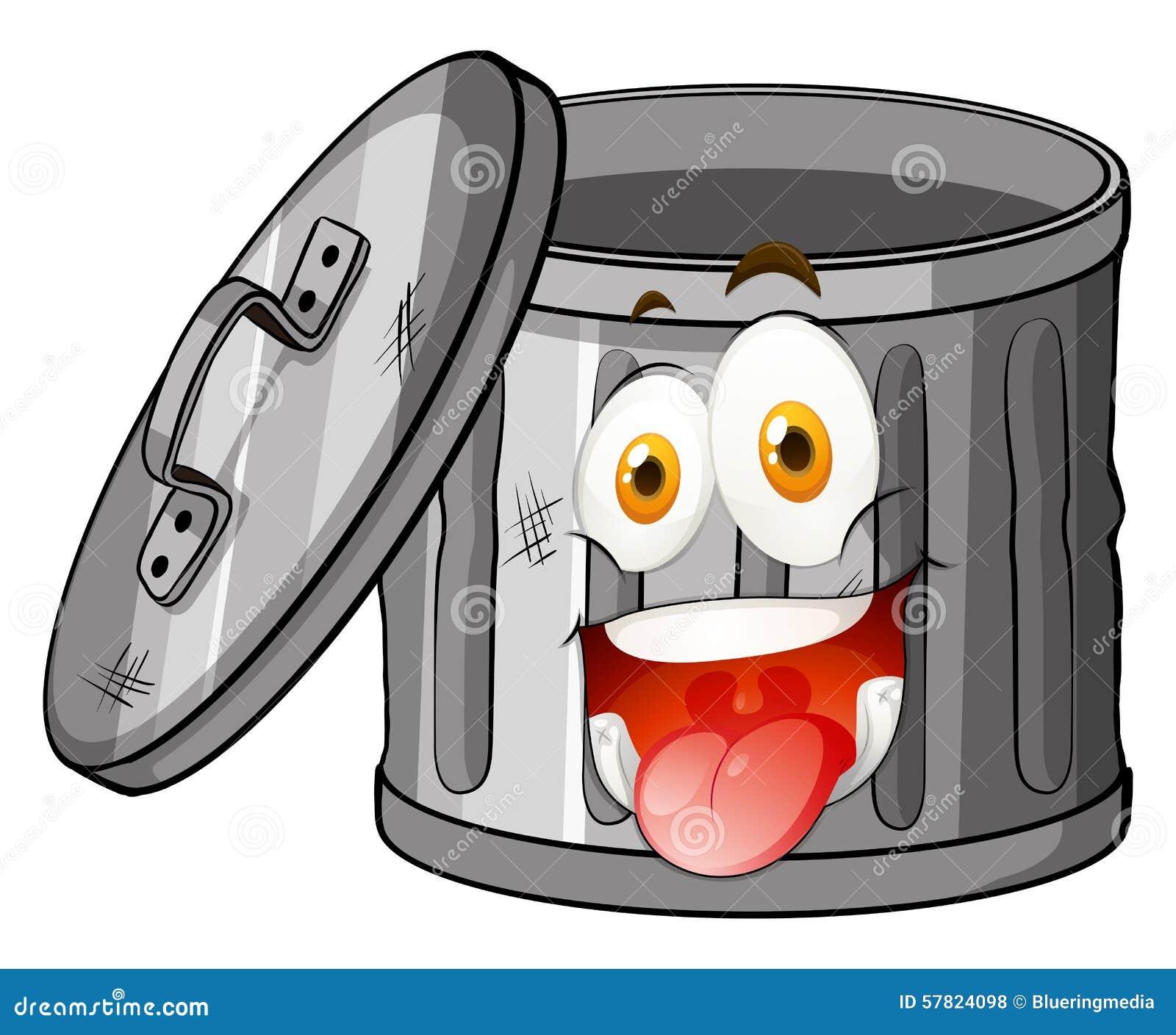 Poubelle avec le visage de sourire illustration de vecteur illustration du coffre heureux - Dessin de poubelle ...