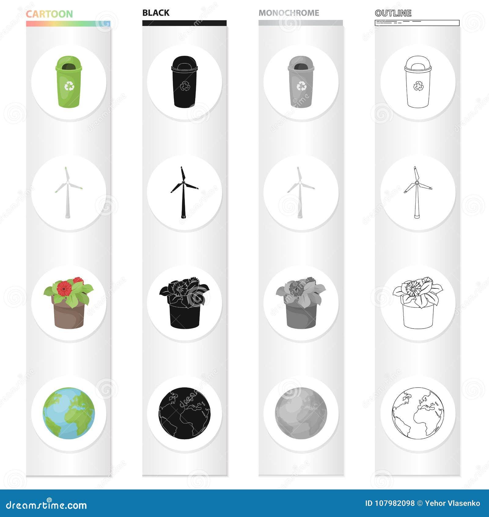 Poubelle, générateur de vent écologique, fleur dans le pot, la terre de planète Icônes réglées de collection d écologie dans le n