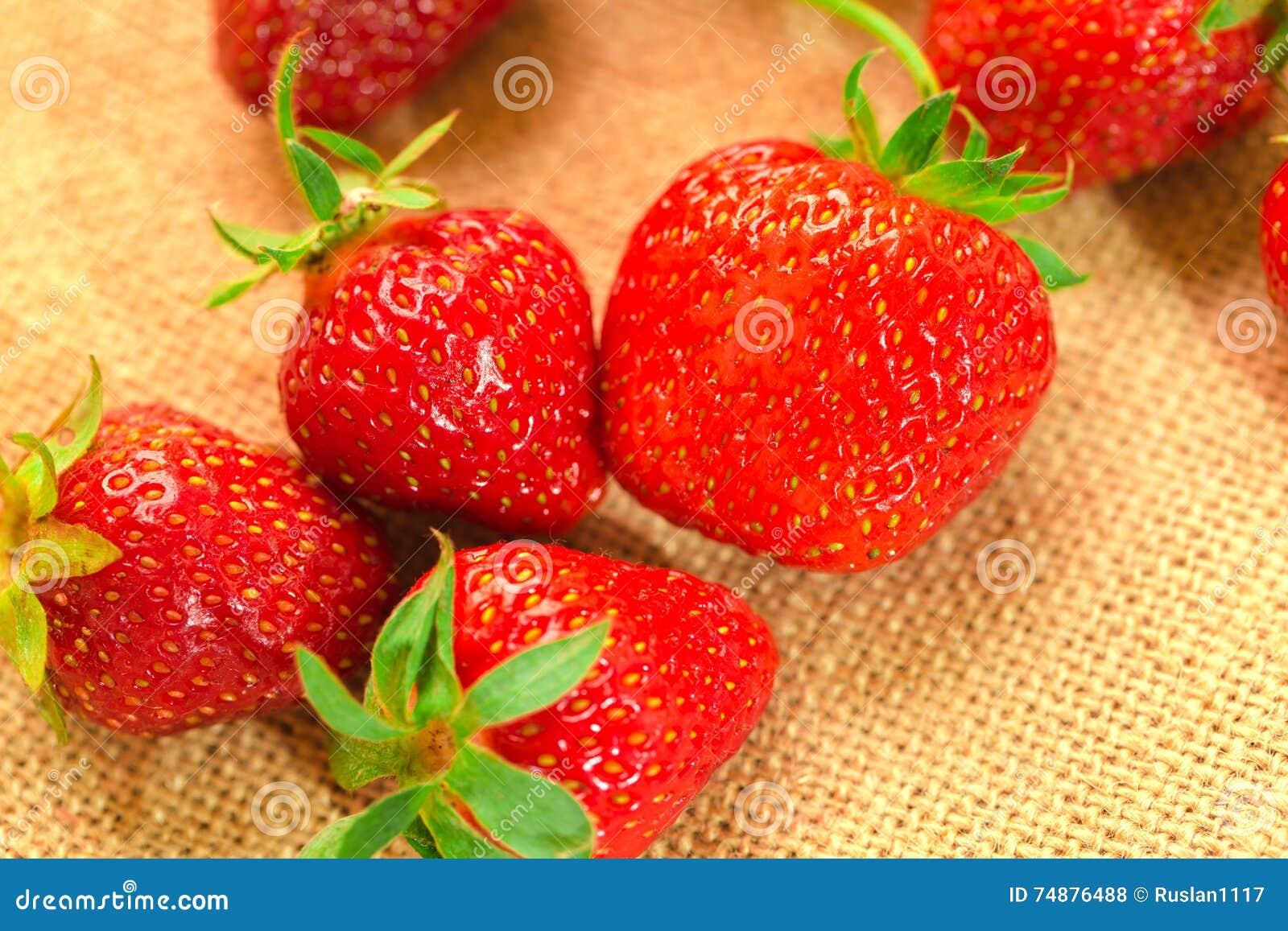 Poucas bagas com morangos frescas em uma tela