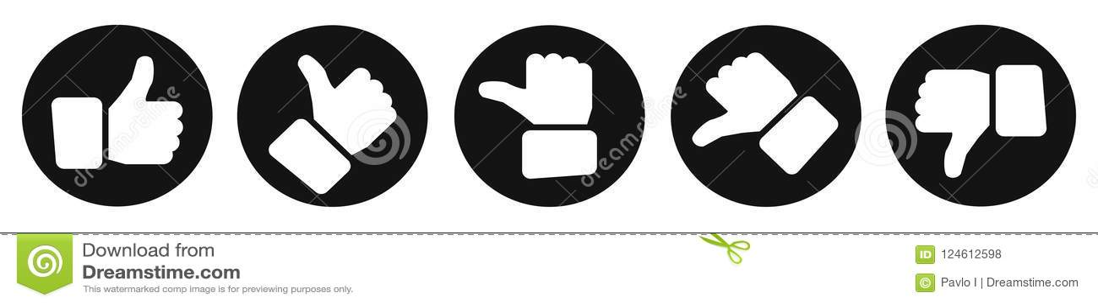 Pouces d évaluation, boutons noirs - vecteur