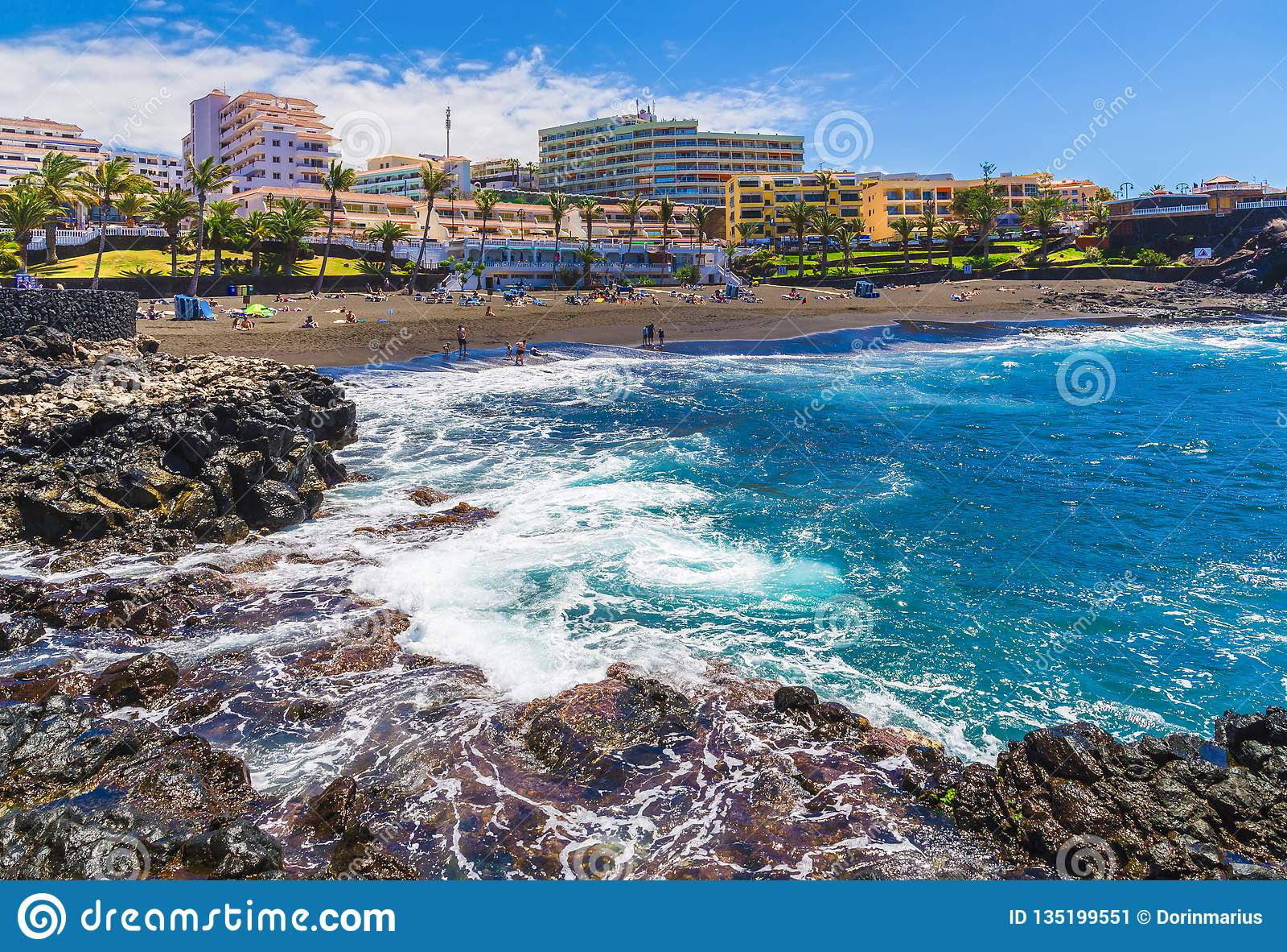 Pouco arena da praia em Puerto de Santiago, Tenerife