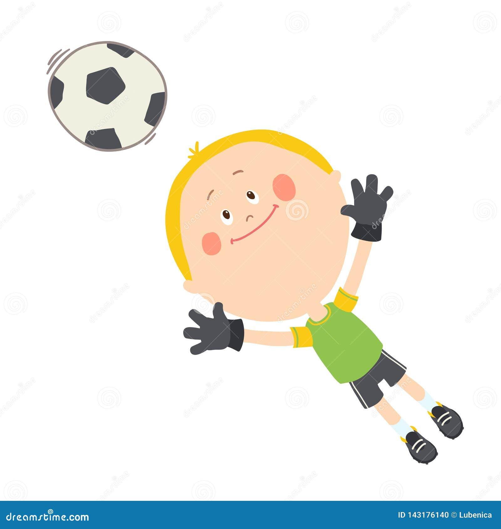 Pouco goleiros que trava uma bola de futebol Menino bonito que joga o futebol no campo de futebol Crian?a feliz que joga com uma
