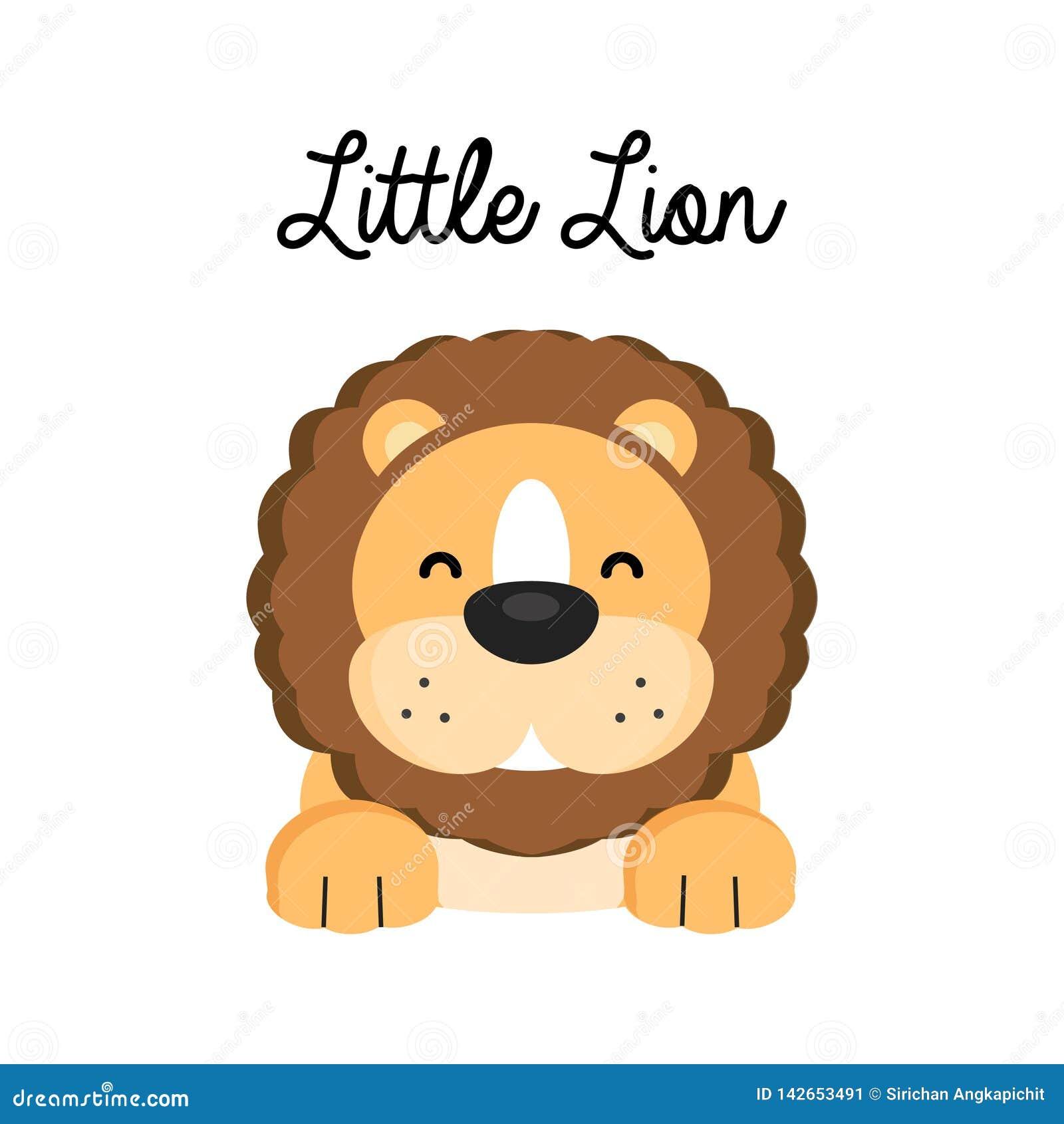 Pouco leão feliz dos desenhos animados isolado no fundo branco