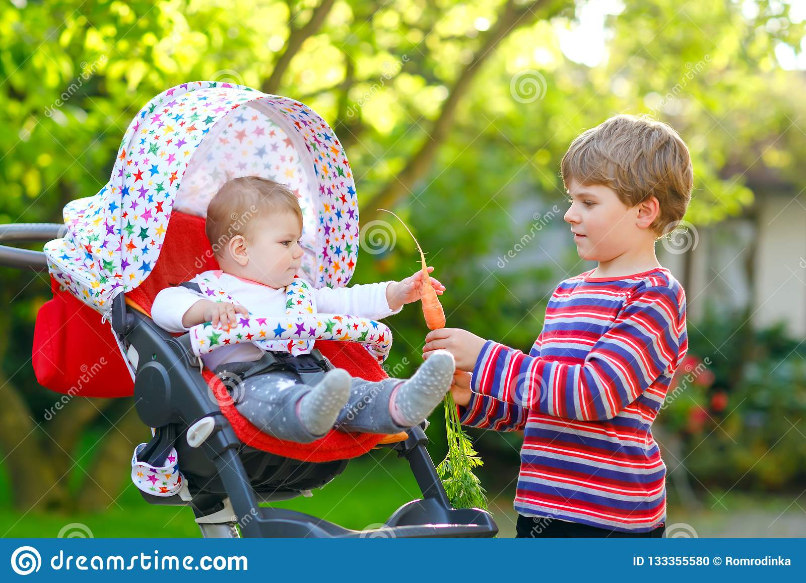 Pouco menino louro da criança que dá uma cenoura à irmã do bebê Irmãos felizes que comem o petisco saudável Bebê que senta-se no