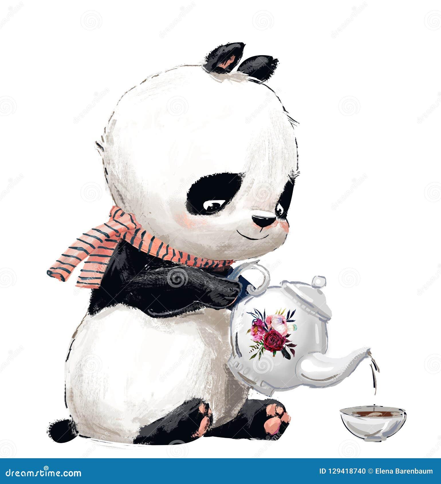 Pouco panda com chá