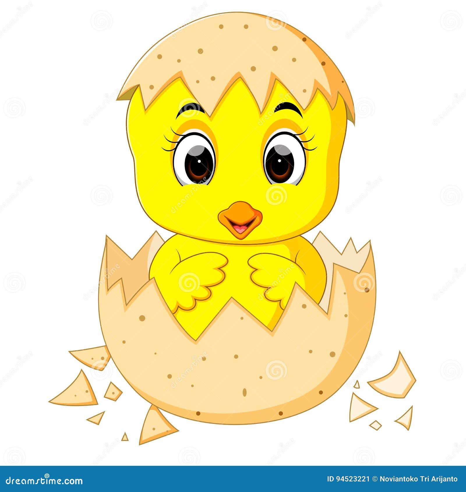 Pouco pintainho dos desenhos animados chocado de um ovo