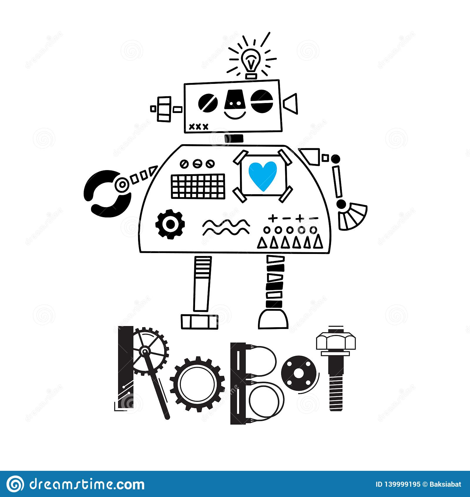 Pouco robô bonito e a inscrição dos detalhes e das engrenagens Ilustração do vetor