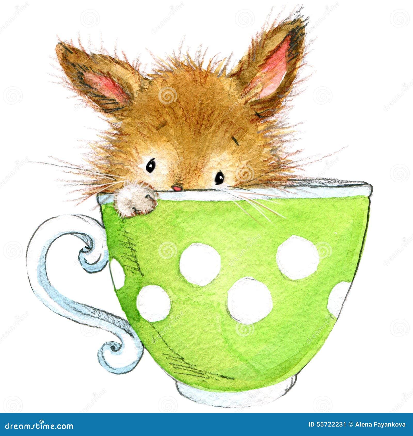 Poucos coelho e tea party watercolor