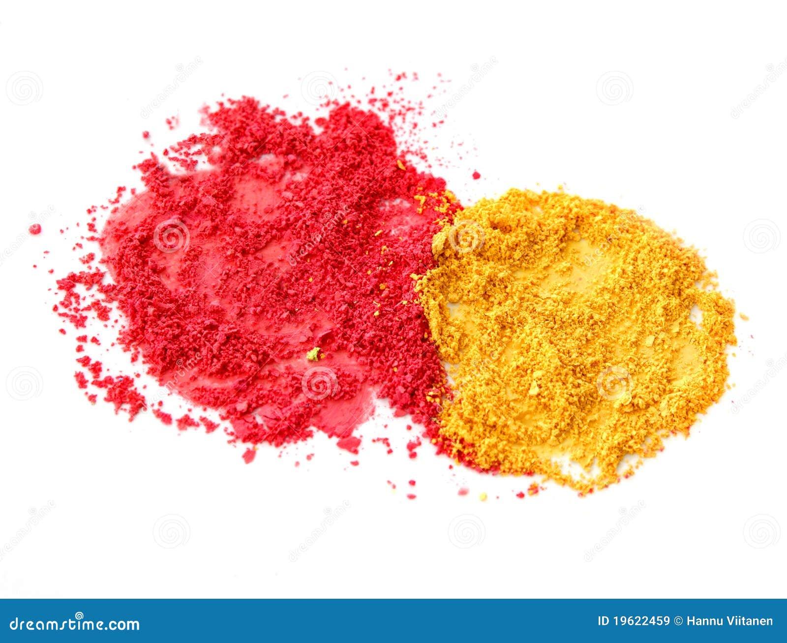 poudre rouge et jaune de couleur images libres de droits. Black Bedroom Furniture Sets. Home Design Ideas