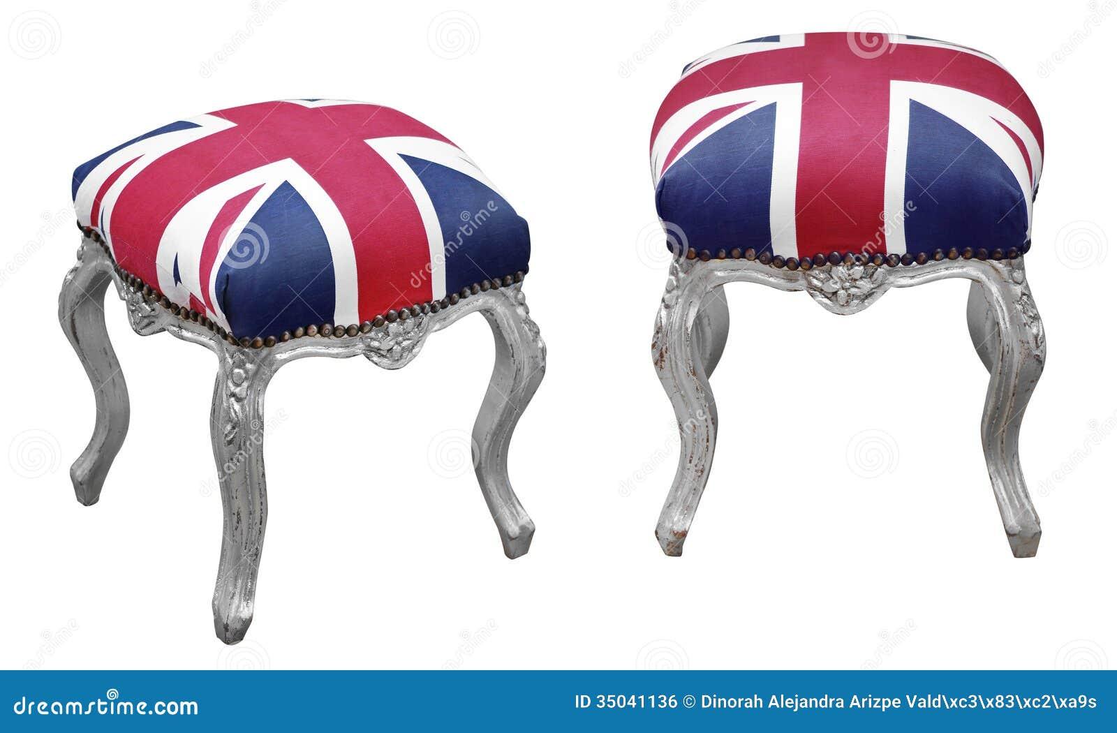 Deux Vues De Pouf Anglais De Style
