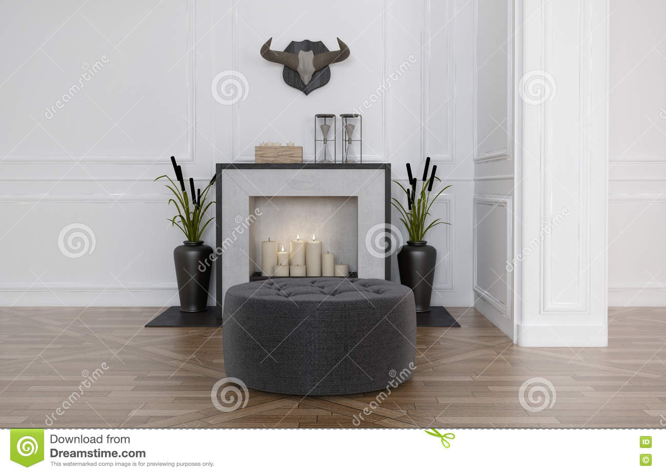 pouf devant une chemin e photo stock image 62400173. Black Bedroom Furniture Sets. Home Design Ideas
