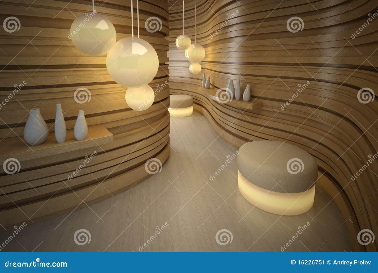 Pouffe van de verlichting in moderne ruimte. Het binnenland van het ontwerp