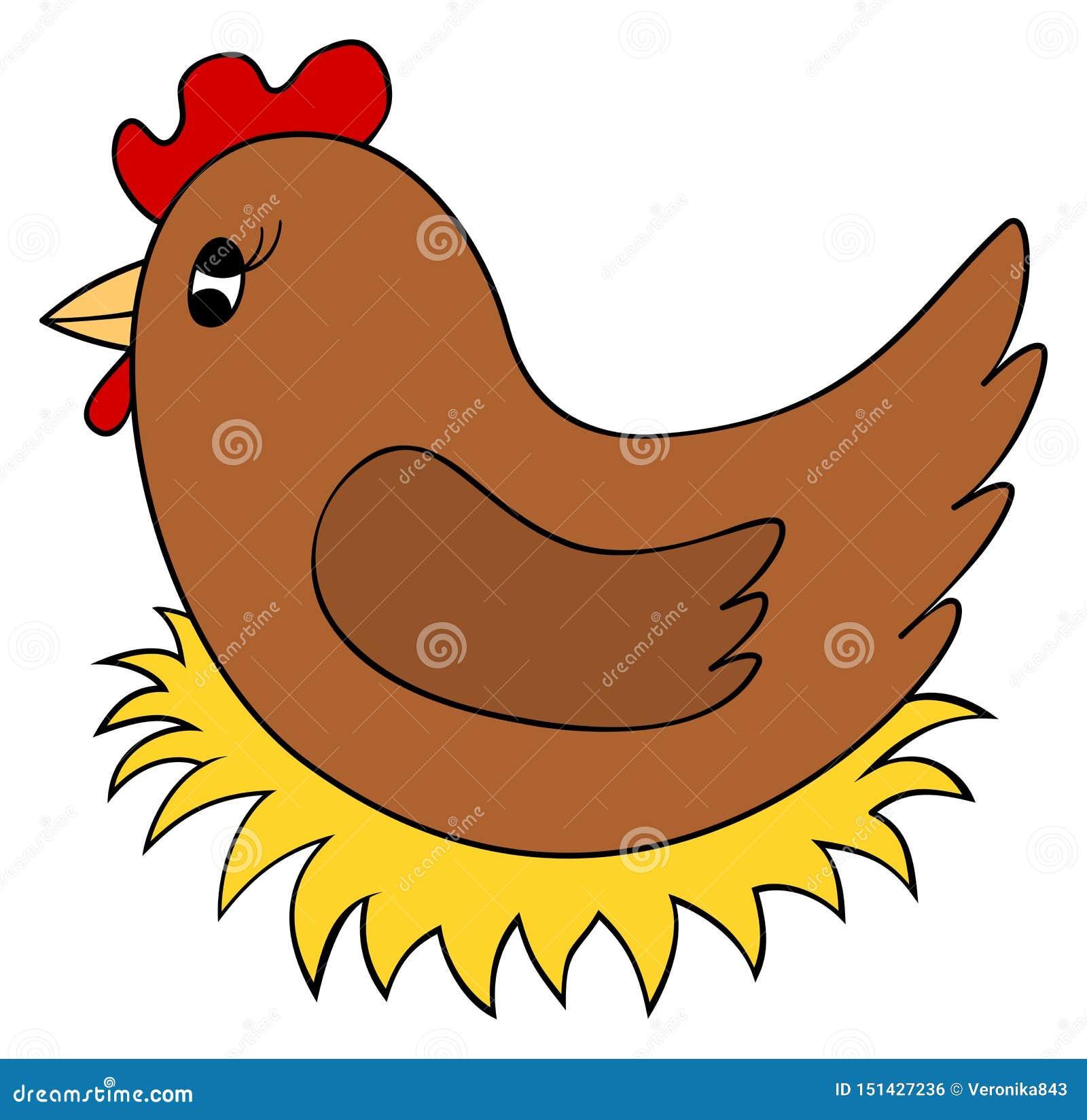 Poulet de bande dessinée sur le clipart de nid La poule incubent des oeufs Illustration de vecteur