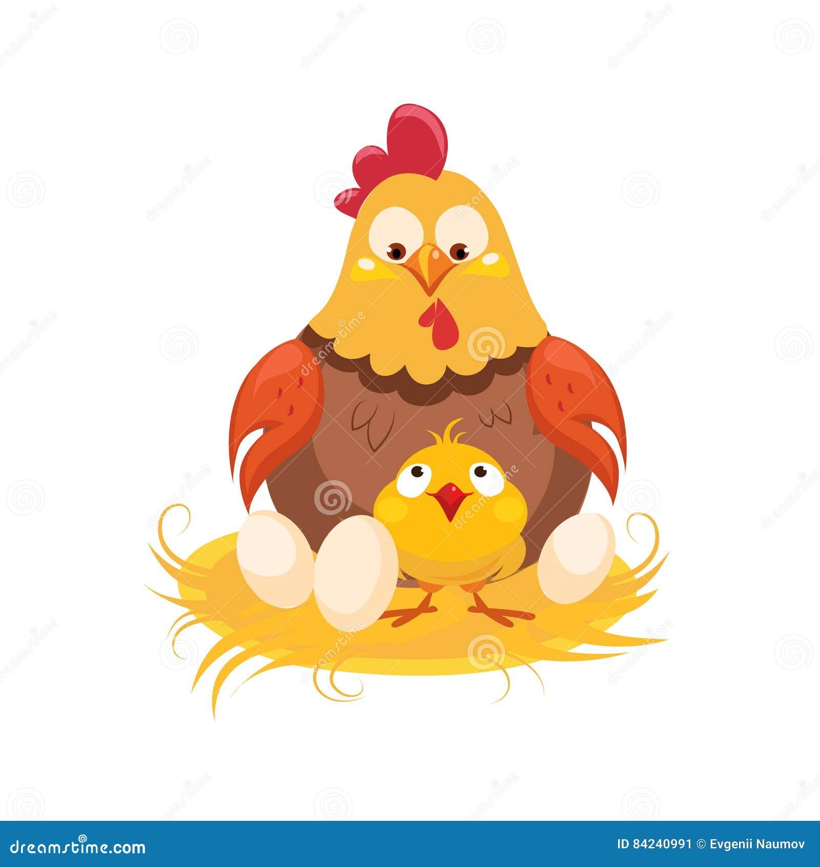 Poulet de mère et de bébé dans le nid avec des couples des oeufs, de la ferme et de cultiver l illustration relative dans le styl