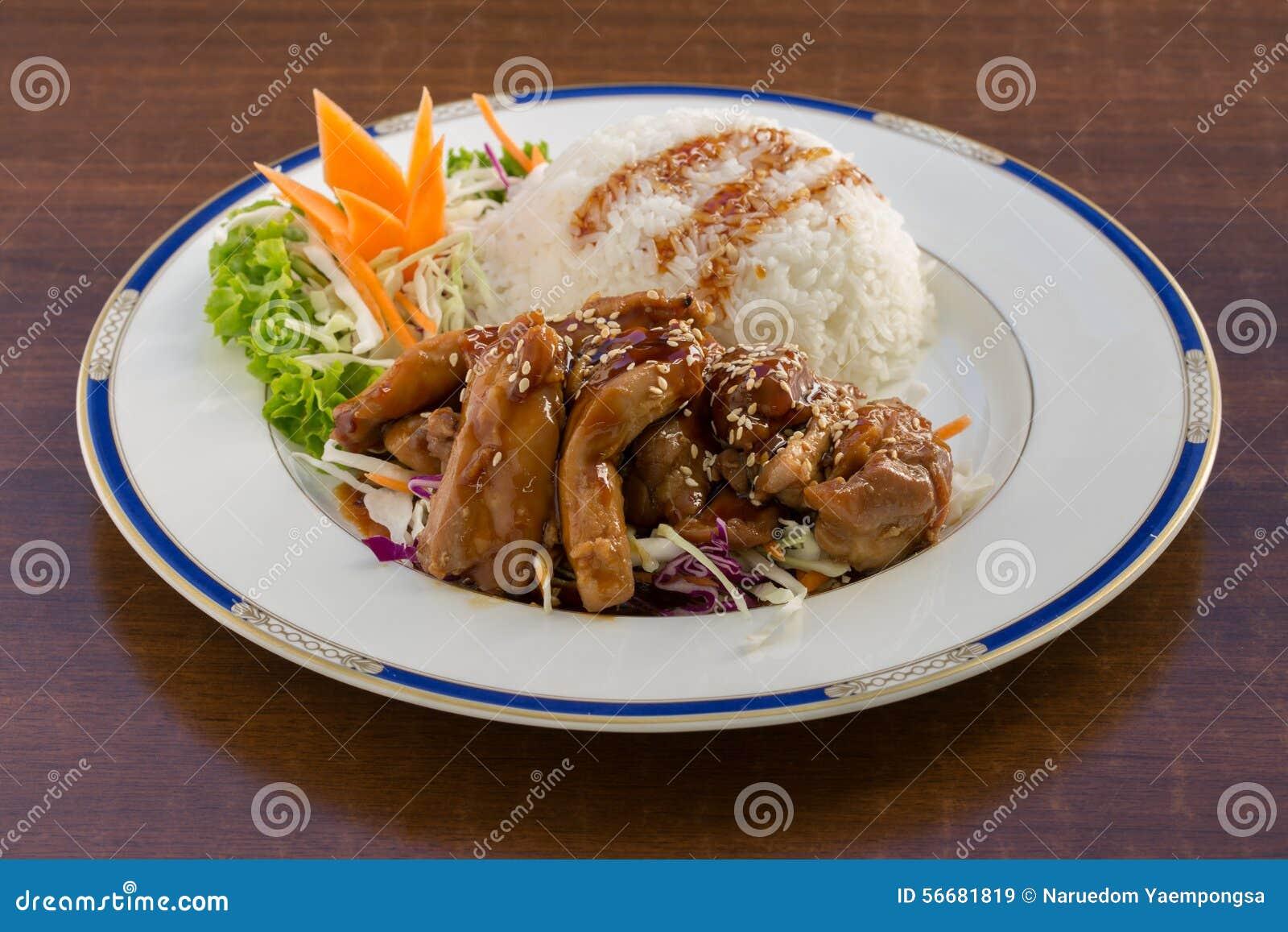 Poulet de Teriyaki sur le riz