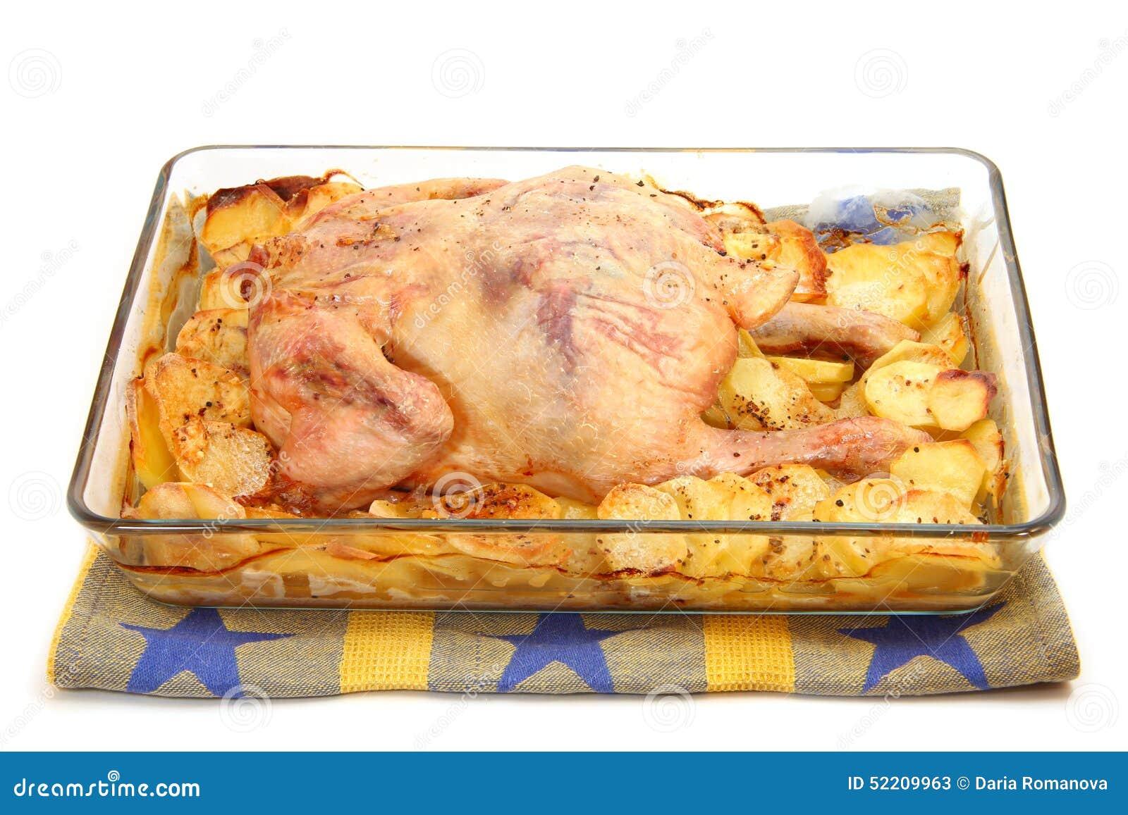 poulet frit avec des pommes de terre dans une moule en verre photo stock image 52209963. Black Bedroom Furniture Sets. Home Design Ideas