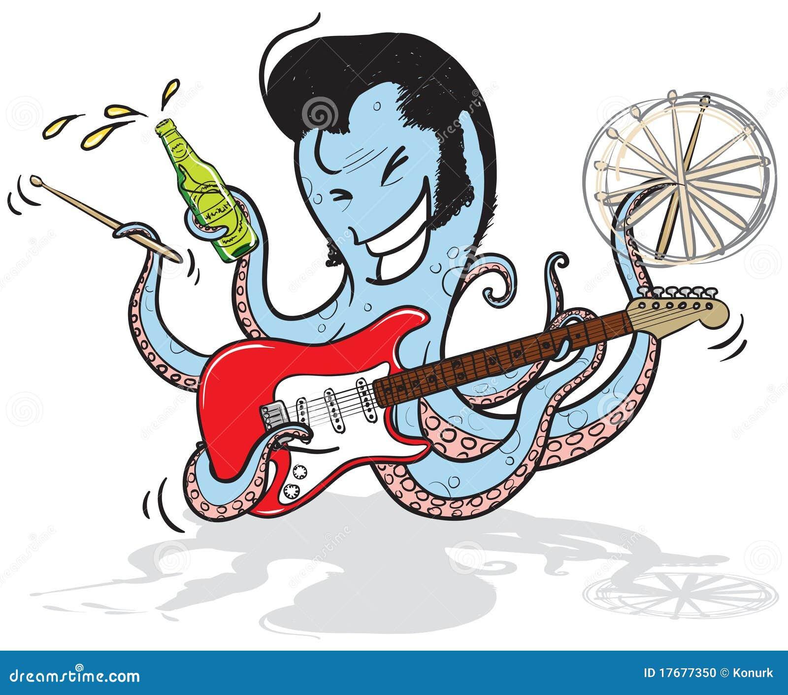 Poulpe de musicien de roche illustration de vecteur - Dessin musicien ...