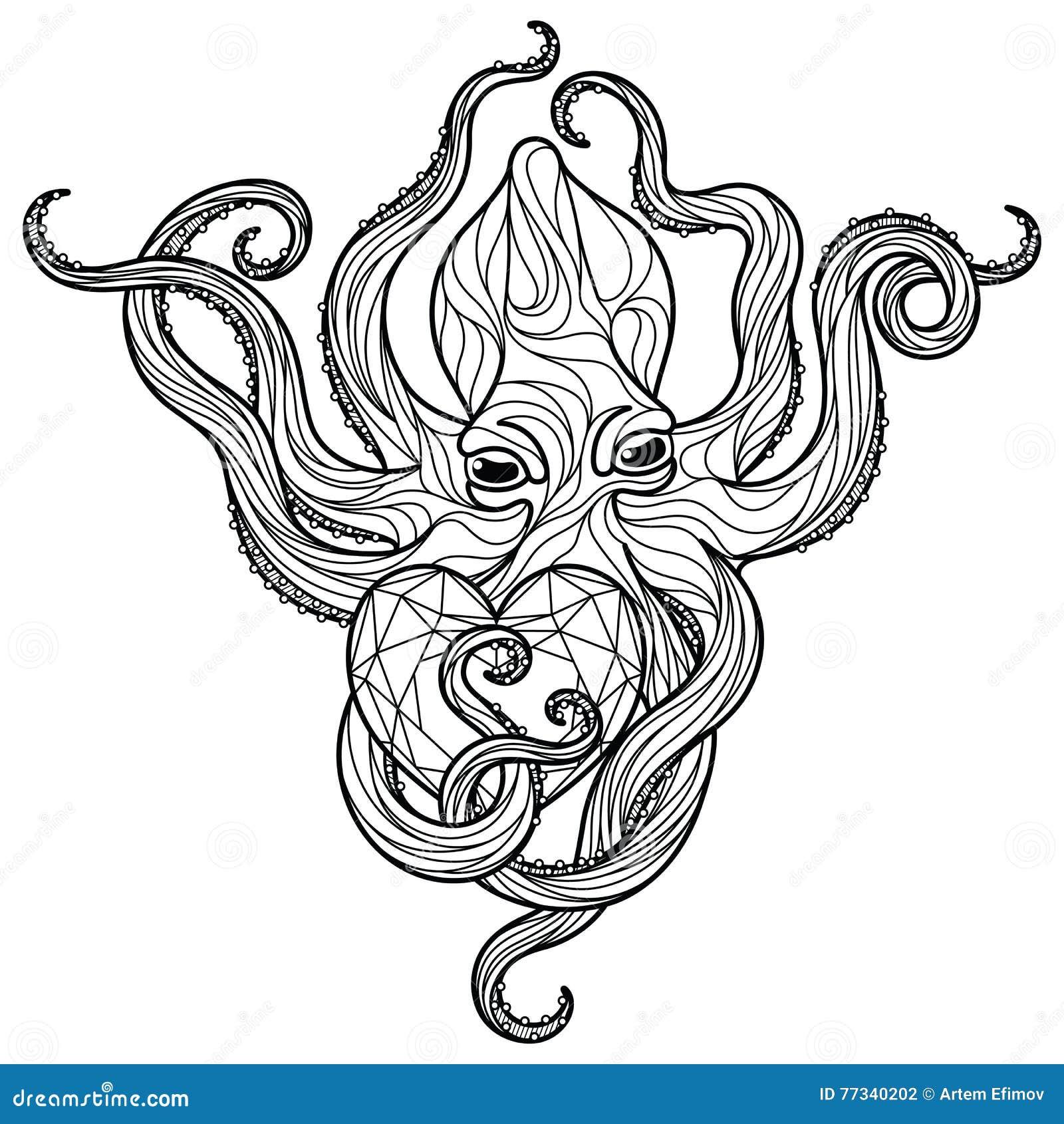 Poulpe de Zentangle