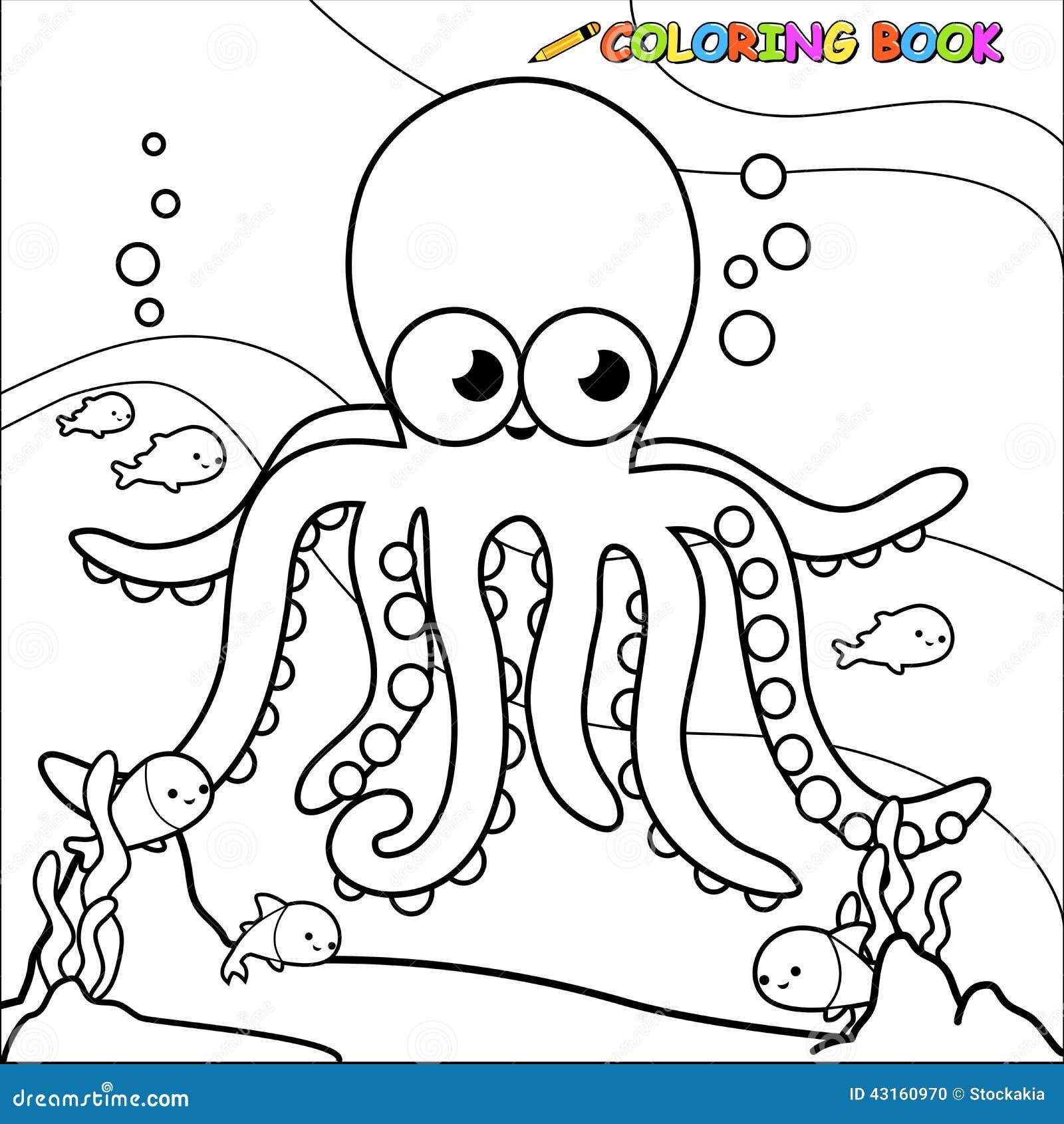 Poulpe sous marin de livre de coloriage illustration de - Dessin sous marin ...