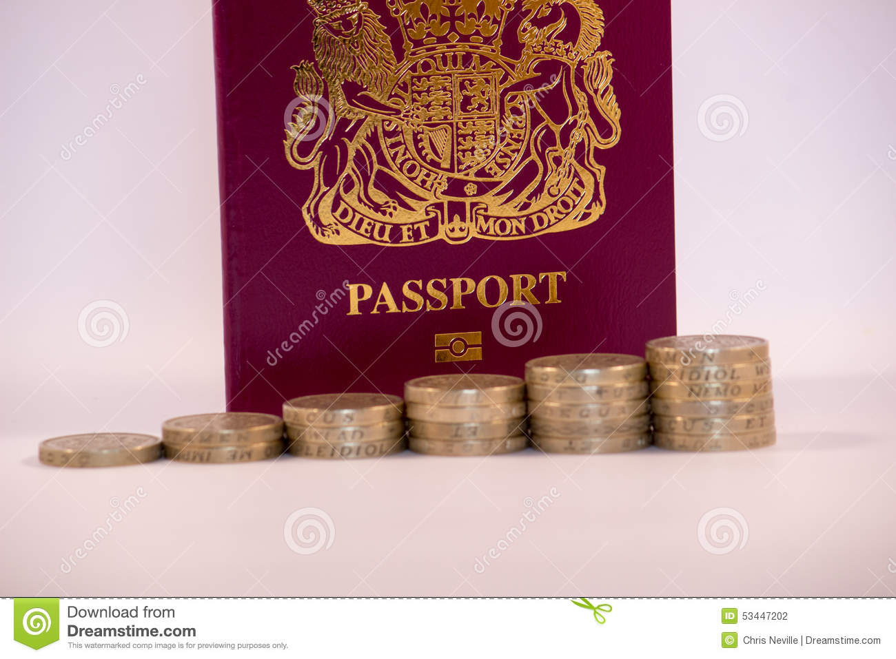 Pound Coins Stacked in front on UK Passport