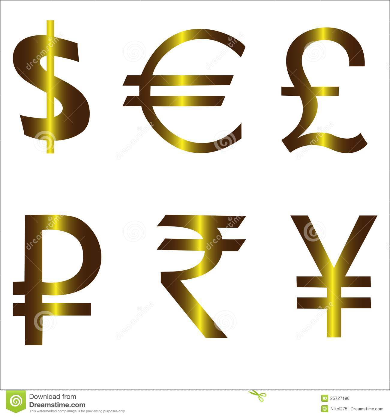 Pound dollar euro ruble yen yuan