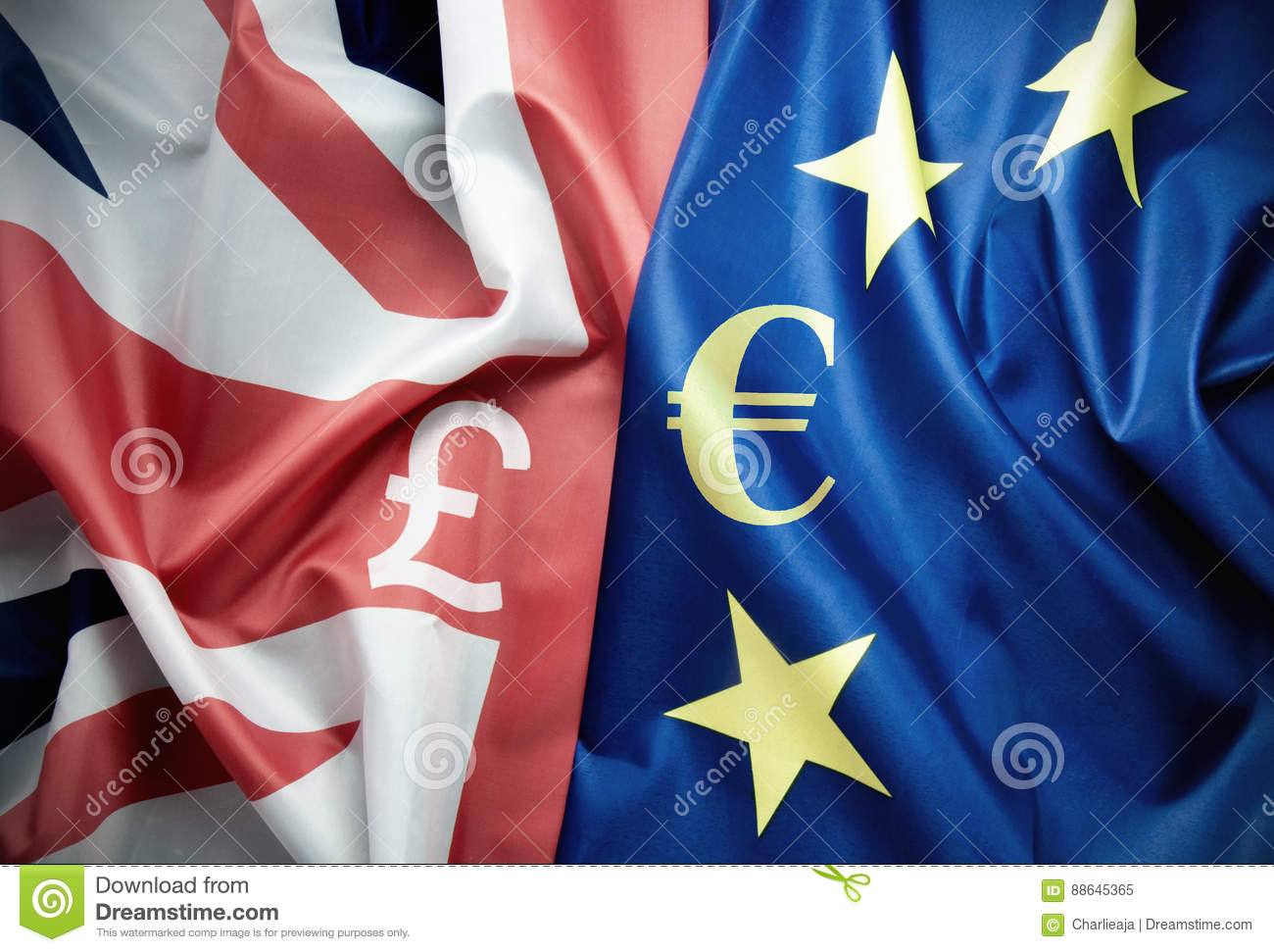 The Pound And The Euro Stock Image Image Of Flags Flag 88645365