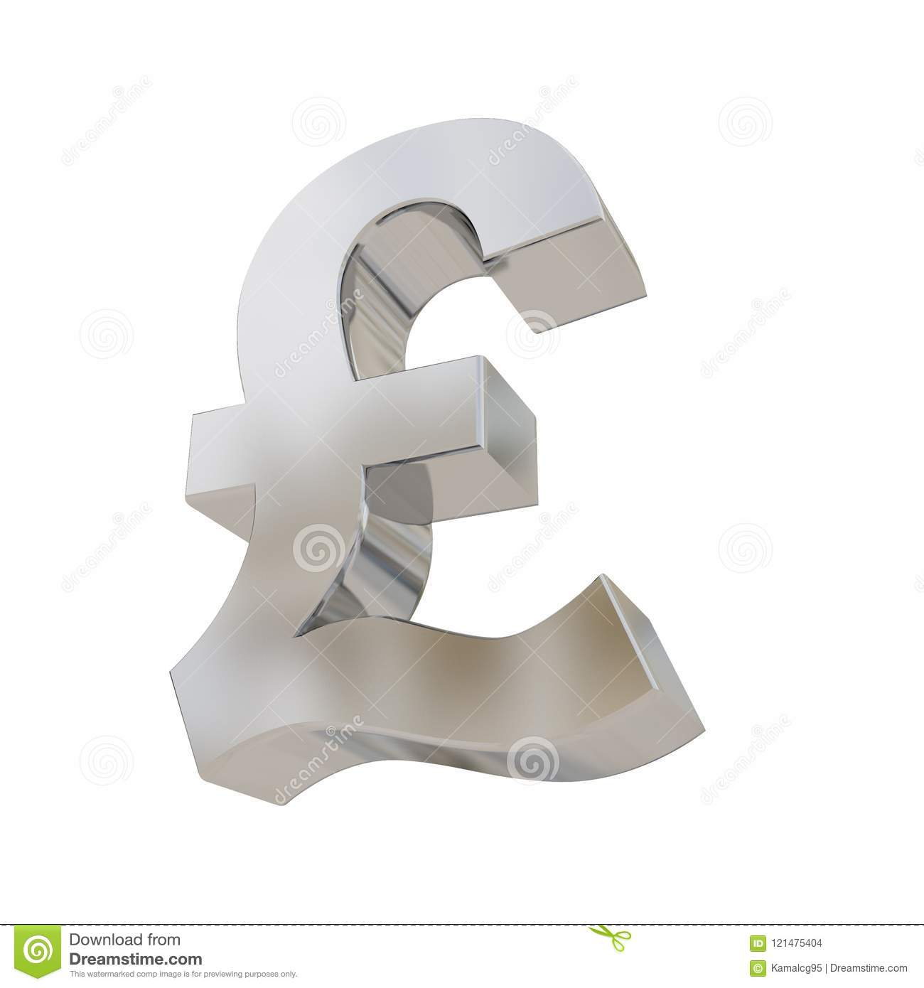 Pound Silver Currency Symbol Isolated On White Stock Illustration