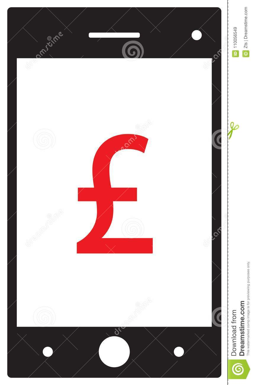 Pound Sterling Currency Icon Or Logo On Cell Mobile Phone Or