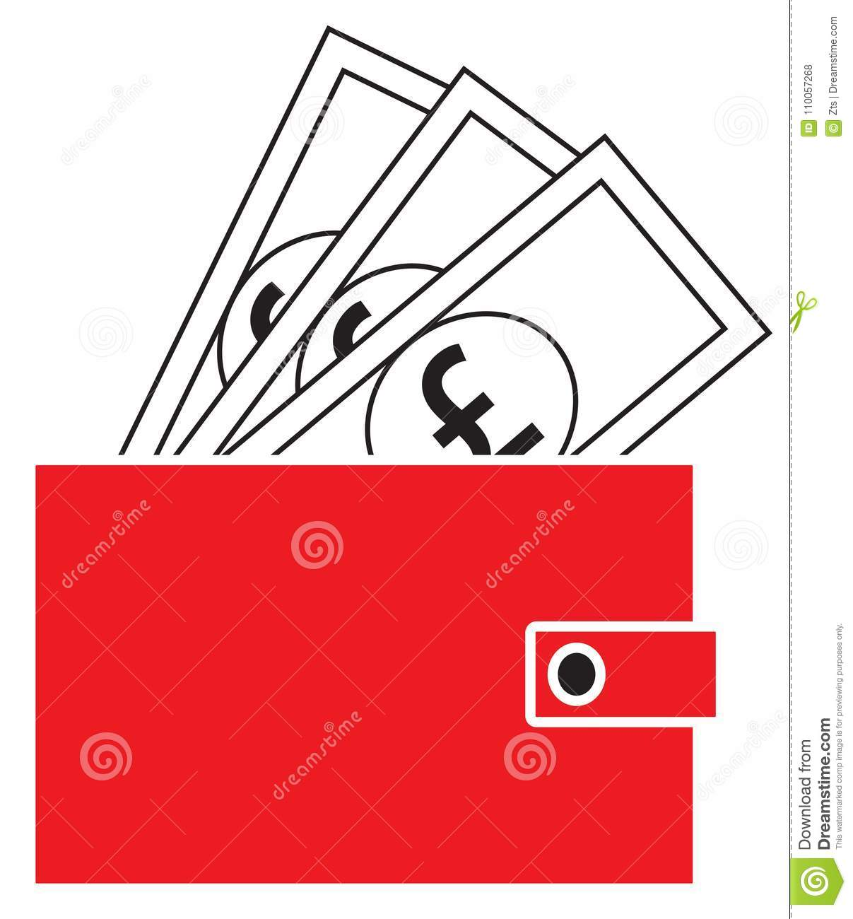Pound Sterling Currency Icon Or Logo On Notes Popping Out Of A
